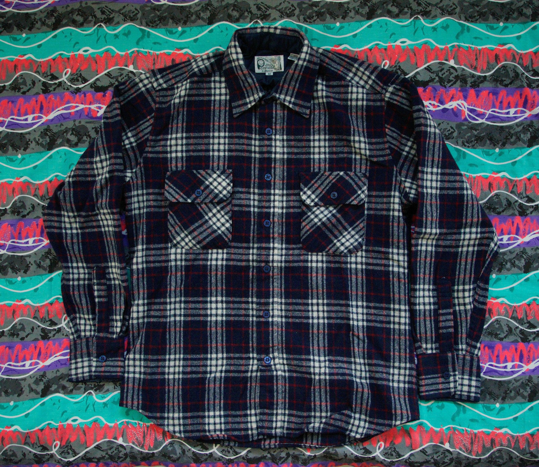 80 s Penfield Trailwear laine mélangée flanelle chemise carreaux à carreaux chemise taille M bleu rouge blanc - vente - f4657b