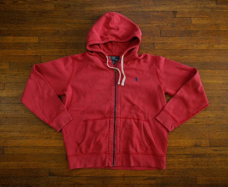 2a18e42c Vintage Polo Ralph Lauren Full Zip Hoodie Size L Red Blue Pony PRL 90s