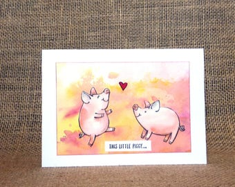love card, anniversary card, wedding card, handmade card, pig love cardvalentines, birthday card, love card for him, love card for her