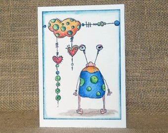monster love card, handmade card, valentine's card, funny love card, anniversary card