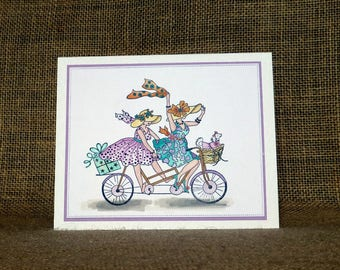 handmade birthday card, bike, any occasion card, blank card, fun card, card for her , birthday card sister, birthday friend,