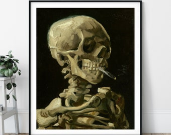 Skull of a Skeleton with Burning Cigarette Print - 19th Century Vincent Van Gogh Painting, Dark Art, Macabre Wall Art, Vintage Reproduction