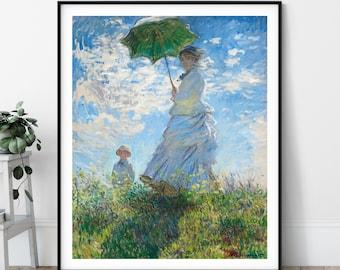 19th Century Claude Monet Print - Woman with a Parasol, Impressionist Art, Antique Portrait Painting, Impressionism, Vintage Wall Art, Gift