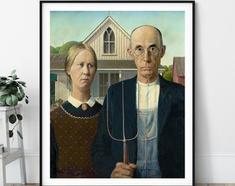 American Gothic Print - 20th Century, Grant Wood, Modernism, Classic Painting, Famous Painting, Farmer and Wife Painting, Housewarming Gift