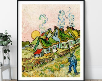 Houses and Figure Print - Vincent Van Gogh Poster, Antique Architecture Painting, Vintage Wall Art, Post Impressionist Wall Decor, Gift