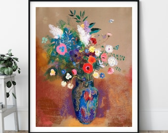 Bouquet of Flowers Print - Odilon Redon, Antique Floral Wall Art, Vintage Still Life Painting, Flower Art, Modern Bright Flower,s Botanical