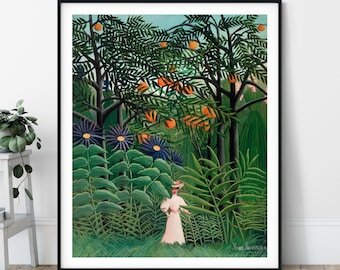 Henri Rousseau Woman Walking in an Exotic Forest Print - Jungle Art, Famous Painting, Gift for Artist, Tropical Wall Art, Rainforest, Trees
