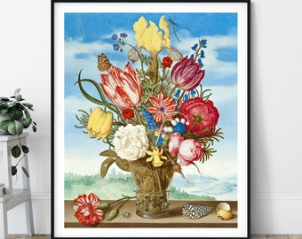 17th Century Flower Print - Antique Floral Wall Art, Vintage Still Life Painting, Bouquet Flowers Print, Flower Art, Flower Wall Decor, Gift