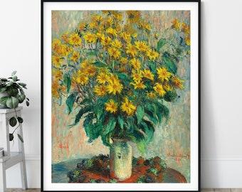 19th Century Claude Monet Print - Jerusalem Artichoke Flowers, Antique Floral Wall Art, Vintage Still Life Painting, Impressionism Art, Gift