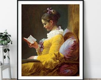Young Girl Reading Print - 18th Century, Jean Honoré Fragonard, Rococo Wall Decor, Book Art, Reader Gift, Bookworm Gifts, Woman Portrait