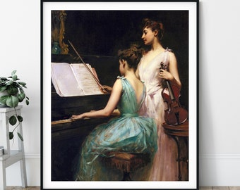The Sonata Print - 19th Century, Piano Painting, Musician Gift, Violin Wall Art, Music Art, Irving Ramsay Wiles, Musical Instrument, Artwork