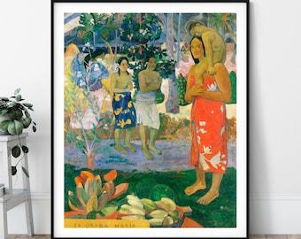 Hail Mary Print - La Orana Maria, Paul Gauguin, Symbolist, Tahitian Painting, Polynesian Wall Art, Religious Artwork, Post Impressionist