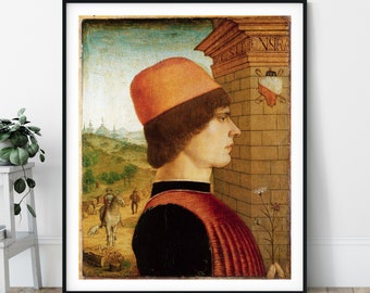 15th Century Portrait of a Man Print - Maestro delle Storie del Pane, Eclectic Art, 1400s Wall Art, People Painting, European Art, Gift