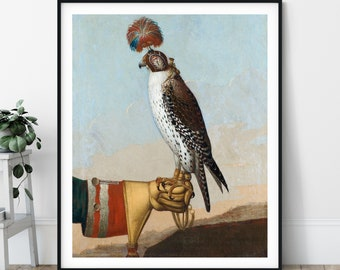 Icelandic Gyrfalcon Print - Falcon Painting, Bird Art, Birds of Prey, Falconry Gift, Falconer Poster, Genre Painting, 18th Century, Men Gift