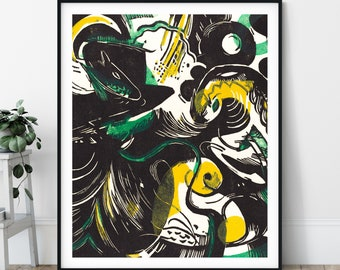 Genesis Print - 20th Century Expressionism, Modern Art, Expressionist Painting, Eclectic Art, Dark Wall Art, Abstract Print, Living Room Art