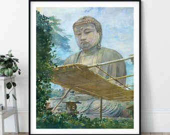 Great Statue of Amida Buddha Print - John La Farge, Buddha Painting, Buddhist Gift, Zen Meditation Wall Art, Buddhist Print, 19th Century