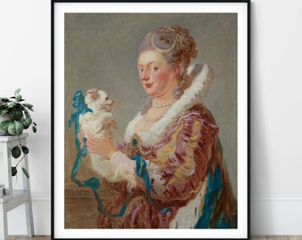 A Woman With A Dog Print - 18th Century, Fashion Painting, Rococo Wall Art, Baroque Art, People Portrait, Funny Art, Jean Honoré Fragonard