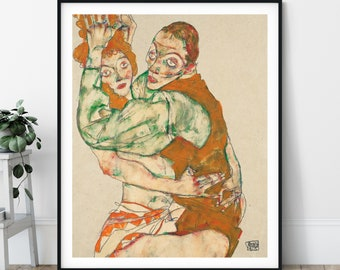 20th Century Lovemaking Print - Expressionism, Intimate Modern Art, Expressionist Painting, Sensual Bedroom Wall Art, Romantic Lovers, Gift