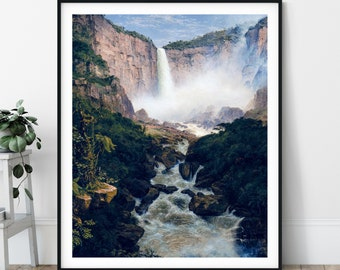 Tequendama Falls Print - 19th Century, Colombia Landscape Painting, Frederic Edwin Church, Waterfall Landscape, Nature Print, South America