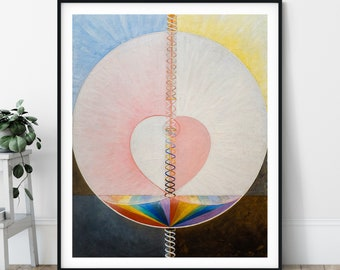 What a Human Being Is Print - The Dove No 1, Hilma af Klint Abstract Painting, Pink Rainbow Art, Geometric Wall Art, Boho Print, Gifts