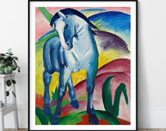 Blue Horse Print - 20th Century, Expressionism, Modern Art, Expressionist Painting, Equestrian Art, Horse Painting, Colorful Wall Art, Gift