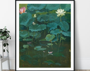 Buddha's Lotus Flower Print - Theodore Wores, Botanical Painting, Buddhist Gift, Zen Meditation Wall Decor, Plant Wall Art, Greenery Print