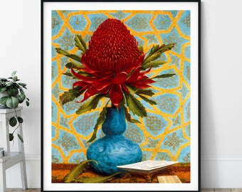 Waratah Print - Lucien Henry,19th Century Painting, Antique Floral Wall Art, Vintage Still Life Painting, Flower Art, Modern Bright Flowers