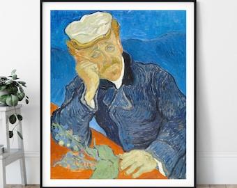 Dr Paul Gachet Print - Vincent Van Gogh Poster, Antique Wall Art, Vintage Portrait Painting, 1800s Art, Post Impressionist Wall Decor, Gift