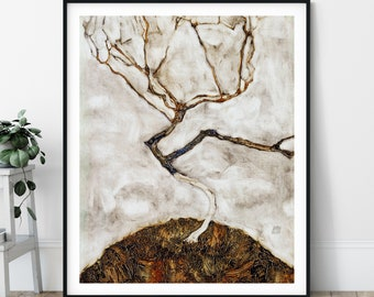20th Century Small Tree in Late Autumn Print - Lone Tree Print, Gothic Wall Art, Sad Art, Expressionism, Modern Art, Expressionist Painting