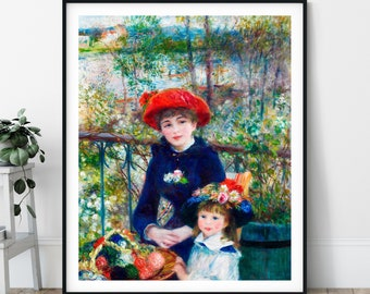 Two Sisters on a Terrace Print - Pierre Auguste Renoir Poster, Antique Wall Art, Vintage Portrait Painting, 1800s Impressionist Wall Decor