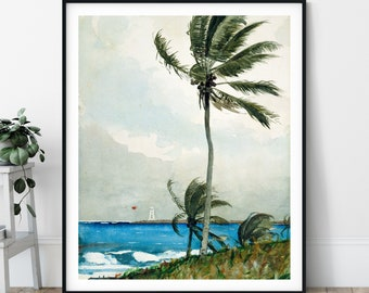 Winslow Homer Palm Tree Print - Tropical Wall Art, Palm Tree Art, Vintage Palm Tree Print, Beach Landscape Print, Antique Ocean Painting