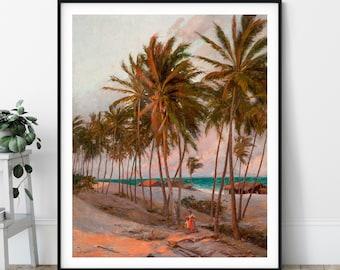 20th Century Beach Print - Fortaleza Brazil, Beach Wall Art, Palm Tree Art, Landscape Painting, Palm Tree Print, Landscape Print, Tropical