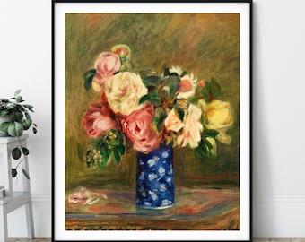Bouquet of Roses Print - Pierre Auguste Renoir Poster, Antique Floral Wall Art, Vintage Still Life Painting, Flower Art, Impressionist Decor