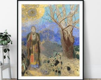 Buddha Print - Odilon Redon, Buddha Painting, Buddhist Gift, Zen Wall Decor, Meditation Wall Art, Buddhist Print, Symbolism Trees Forest