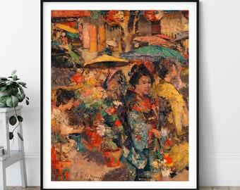 Flower Market, Nagasaki Print - 19th Century - Japanese Art, Japanese Painting, Edward Atkinson Hornel, Japan Print, Impressionism Wall Art
