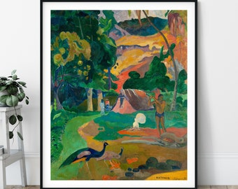 Landscape with Peacocks Print - Paul Gauguin, Tahitian Painting, Polynesian Wall Art, Tropical Forest Wall Decor, Motamoe Poster, Gift