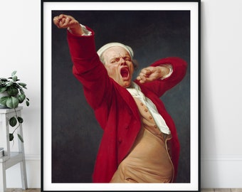 Yawning Man Self Portrait Print - Joseph Ducreux, Eclectic Art, Funny Art, People Painting, 18th Century Wall Art, French Artist, Gift