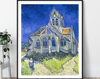 The Church at Auvers Print - Vincent Van Gogh Poster, Antique Wall Art, Vintage Painting, Post Impressionist Wall Decor, Religious Art Print
