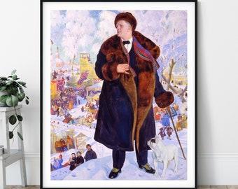 Fyodor Chaliapin Portrait Print - 20th Century, Portrait Painting, Modern Art, Antique Wall Art, Russian Soviet Art, Eclectic Wall Art, Gift