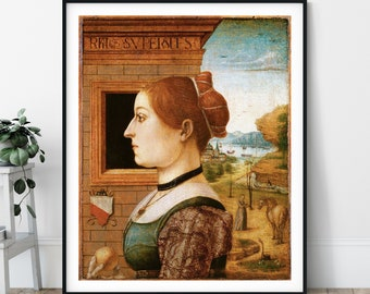 15th Century Portrait of a Woman Print - Maestro delle Storie del Pane, Eclectic Art, 1400s Wall Art, People Painting, European Art, Gift