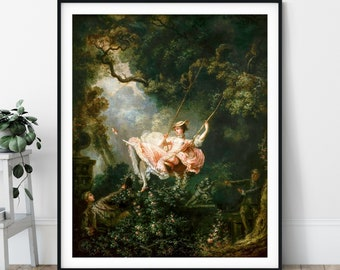 The Swing Print - Jean-Honoré Fragonard, 18th Century Painting, Antique Art, Vintage Wall Art, French Art, Renaissance Painting, Gifts