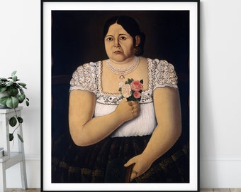 Portrait of a Native Puebla Woman with a Bouquet of Roses Print - Mexican Art, Fashion Painting, People Portrait, Latin American Wall Art