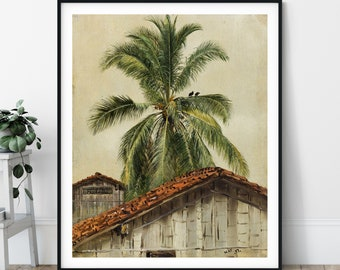 Palm Trees and Housetops, Ecuador Print - 19th Century, Landscape Painting, Palm Tree Print, Tropical Wall Art, Gift, Frederic Edwin Church