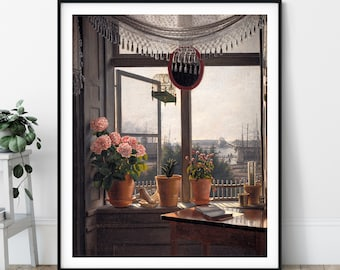 View from the Artist's Window Print - Martinus Rørbye, Copenhagen Denmark Landscape Painting, Antique Art, Vintage Wall Art, Flower Art