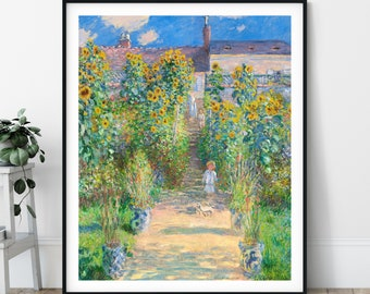 19th Century Claude Monet Print - The Artist's Garden at Vétheuil, Antique Floral Wall Art, Landscape Art, Sunflower Painting, Impressionist