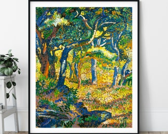 Study for the Clearing Print -  Forest Landscape Painting, Pointillism Art, Nature Print, Impressionism Wall Art, Dot Painting, Trees Art