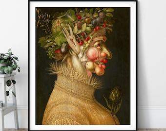 The Summer Print - 16th Century Renaissance Painting, Eclectic Art, Fruit Portrait, European Art, Strange Wall Art, Giuseppe Arcimboldo