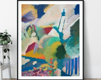 Murnau with a Church Print - Wassily Kandisky Painting, Vintage Reproduction, Abstract Art, Expressionism, Colorful Wall Art, Living Room