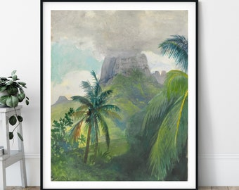 The Peak of Maua Roa Noon Print - John La Farge, Moorea Island Tahiti, French Polynesia Art, Volcano Painting, Tropical Wall Art, Palm Tree