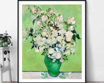 Vincent Van Gogh Roses Print - Antique Green Floral Wall Art, Vintage Rose Art, Post Impressionist Painting, Flower Vase Still Life Poster